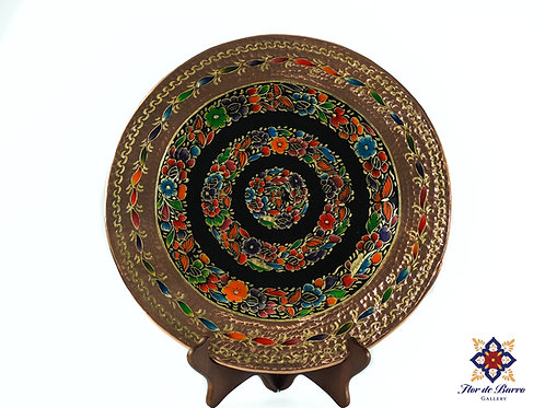 Traditional Flowered Hammered Copper Plate by Sergio Velazquez