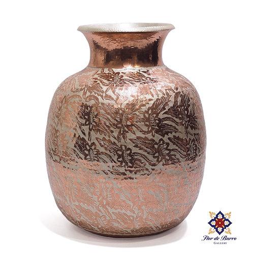 Sergio Velazquez: Silver Painted Hammered Copper Vase