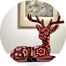 Red beaded Huichol deer. Art from Nayarit.