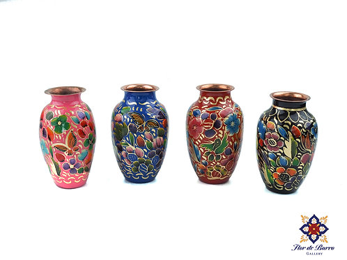 Colorful Floral Hammered Copper Vase by Sergio Velazquez.