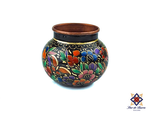 Floral Hammered Copper Vase by Sergio Velazquez.