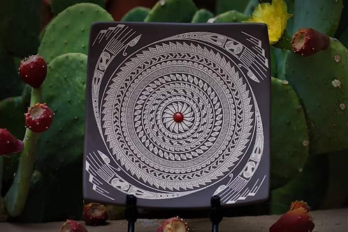 "Hector ""Yeto"" Gallegos Jr.: Sgraffito Plate with Stone"