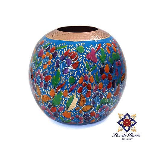 Sergio Velazquez: Blue Flowered Hammered Copper Vase