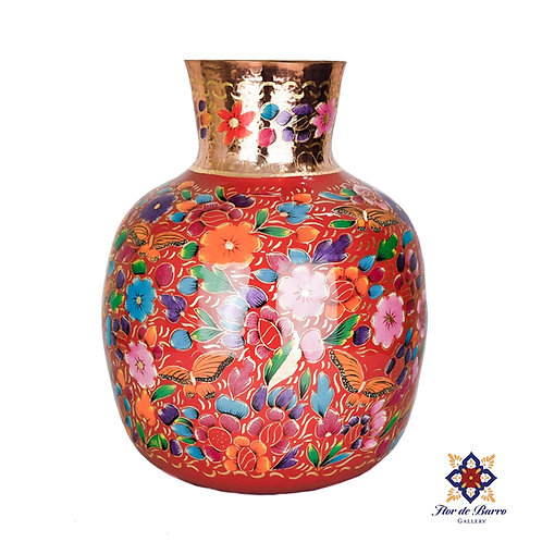 Sergio Velazquez: Traditional Flowered Hammered Copper Vase