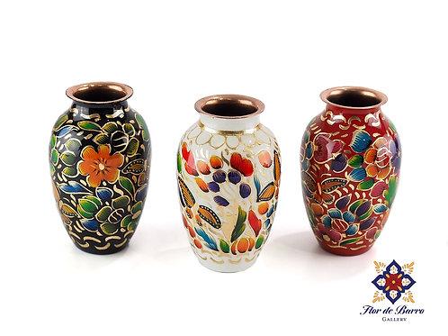 Sergio Velazquez: Small Floral Hammered Copper Vase