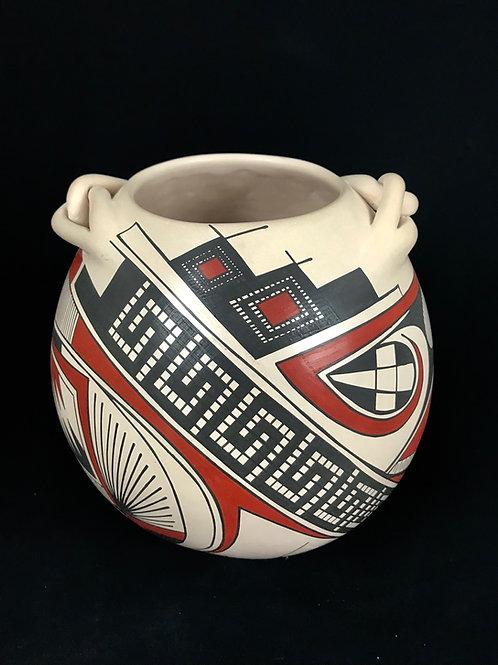 Juan Quezada: White Pot with Paquime Designs