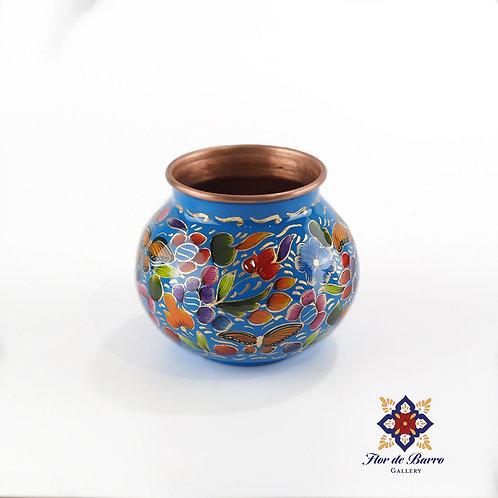Sergio Velazquez: Blue Floral Hammered Copper Vase