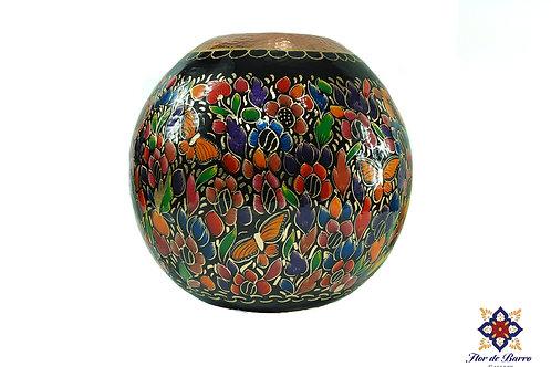 Sergio Velazquez: Flowered Hammered Copper Vase (Santa Clara del Cobre)