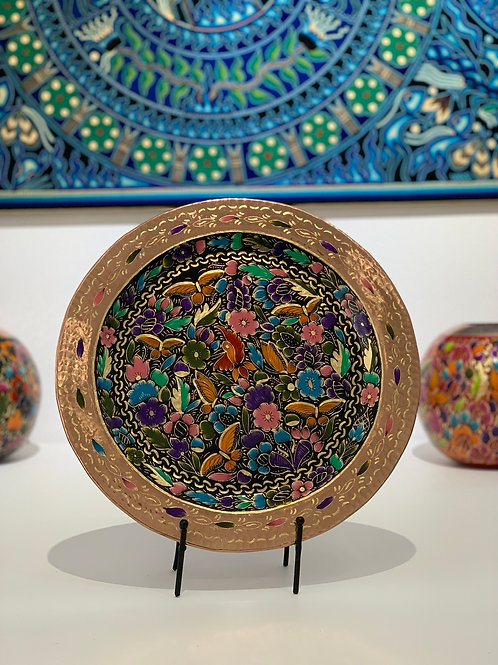 Sergio Velazquez: Traditional Flowered Hammered Copper Plate