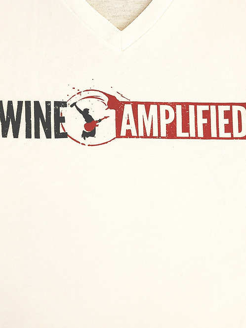 Wine Amplified White V-Neck Shirt