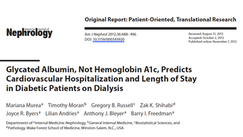 """""""Glycated Albumin, Not Hemoglobin A1c, Predicts Cardiovascular Hospitalization and Length of St"""
