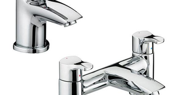 Bristan Capri Contemporary Basin + Bath Filler Tap Pack (Inc. Basin Pop-up Waste