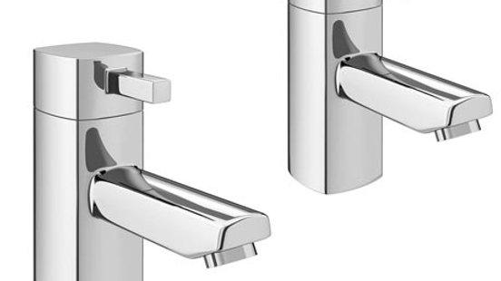 Neo Minimalist Bath Pillar Taps - Chrome