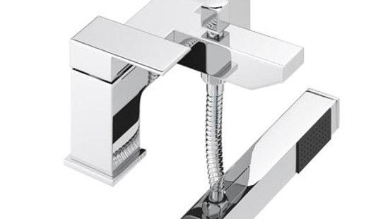 Cast Bath Shower Mixer Tap with Shower Kit - Chrome