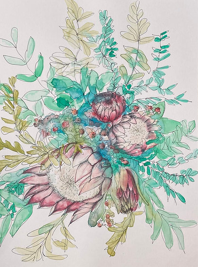 Protea Bouquet drawing