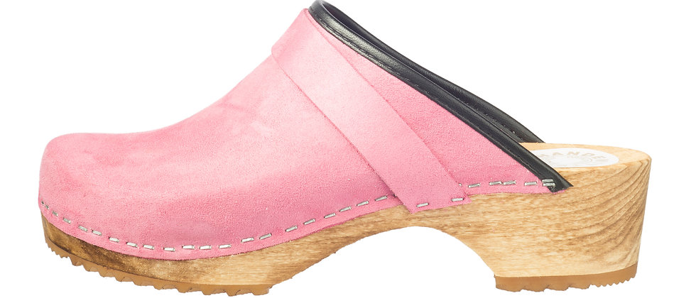 Holzclog in Pink Velours und offener Ferse
