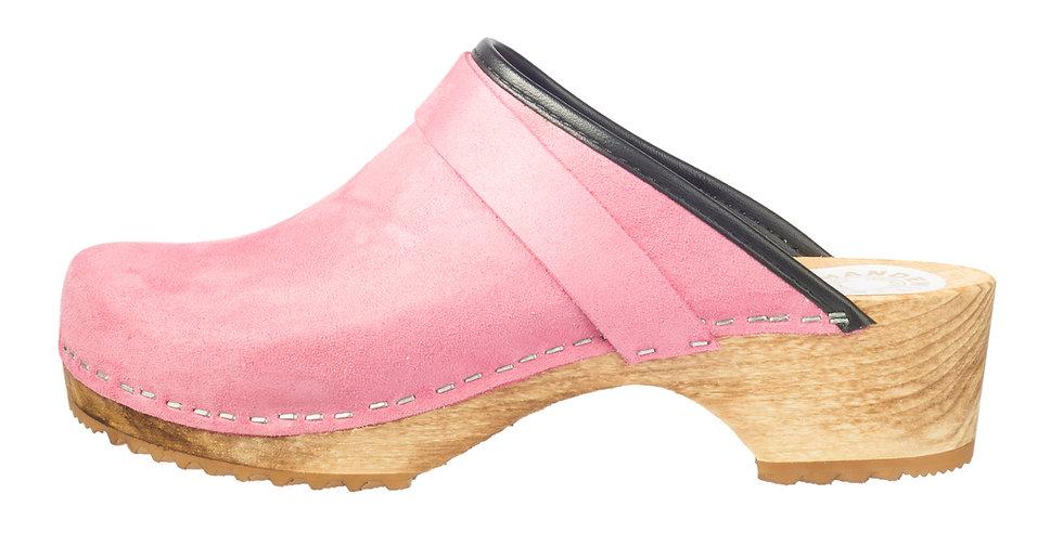 Holzclog in Pink Velours und offener Ferse