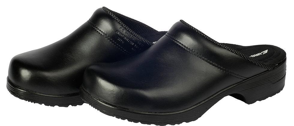 Ledergalosche in schwarz mit PU-Sohle und offener Ferse