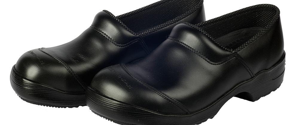 Ledergalosche in schwarz mit PU-Sohle und Stahlkappe