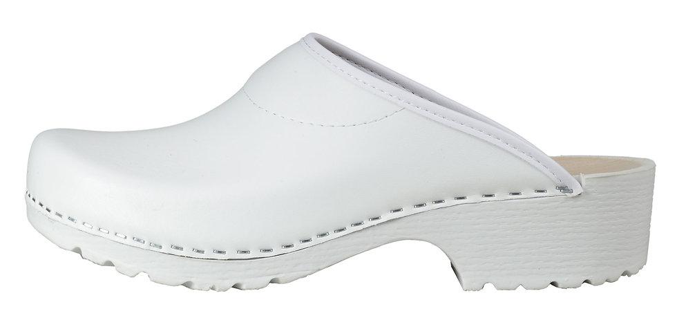 PU Clog in Weiß und offener Ferse