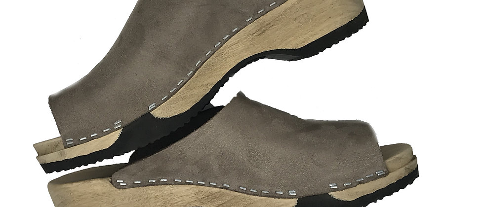 Holzsandale flexible Sohle mit Velourleder
