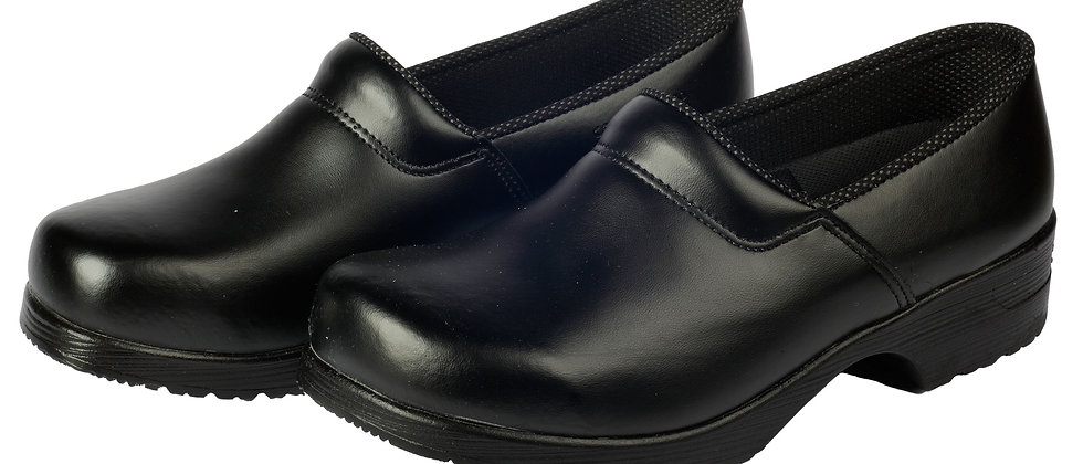 Ledergalosche in schwarz mit geschl. Ferse und PU-Sohle