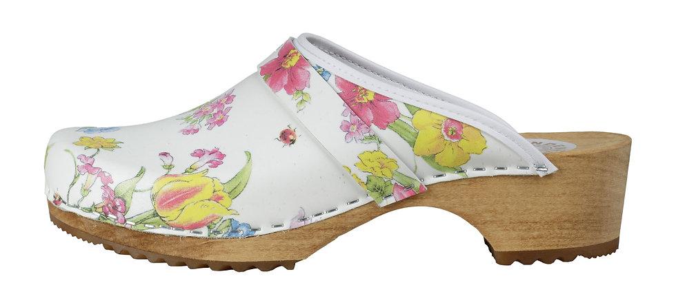 """Holzschuh mit Farbmuster """"Blume"""" und offener Ferse"""