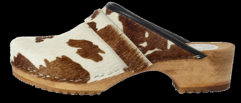 Holzclog mit Kuhfell braun/weiß und offener Ferse