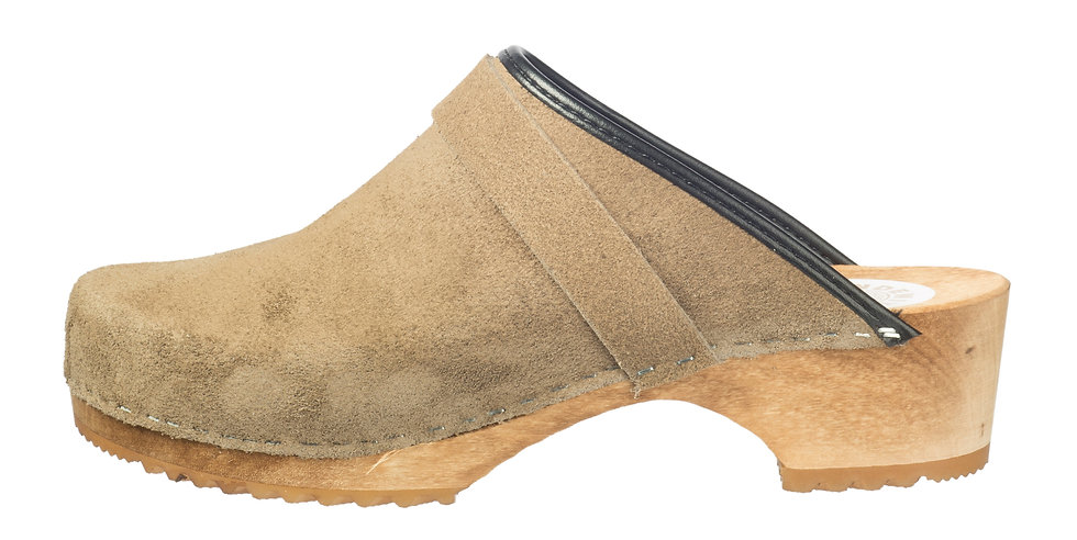 Holzclog in Taupe Velours und offener Ferse