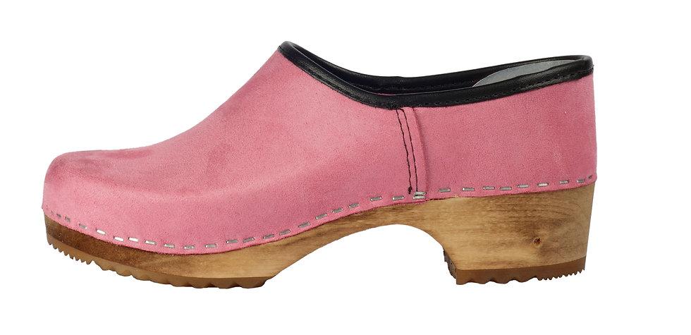 Holzschuhe in Pink Velours und geschlossener Ferse