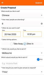 Spotfood food deals app proposals page