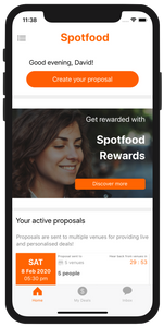 Spotfood food deals app home page