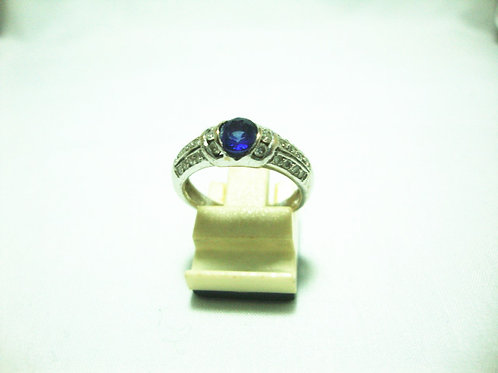 18K WHITE GOLD DIA SAPPHIRE RING 6/9P 24/24P