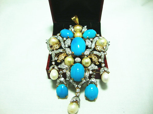 18K GOLD DIA TURQUOISE PEARL PENDANT / BROOCH 200/600P