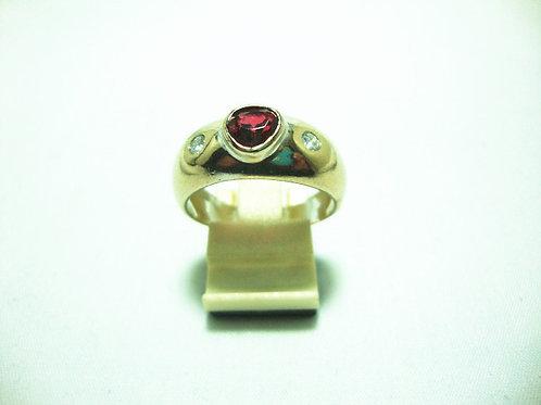 18K WHITE GOLD DIA RUBY RING 2/14P