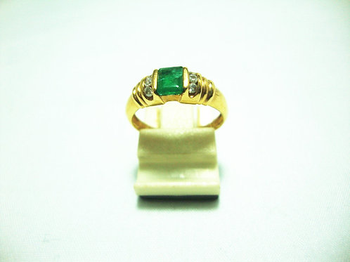 14K GOLD DIA EMERALD RING 6P