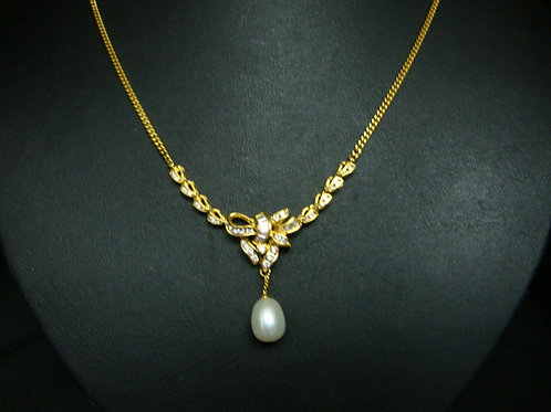916 GOLD DIA PEARL NECKLACE 40/50P