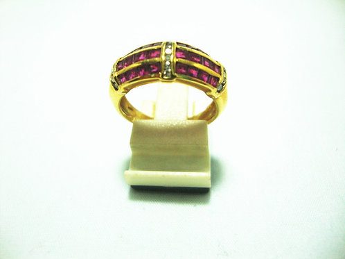 14K GOLD DIA RUBY RING 8P