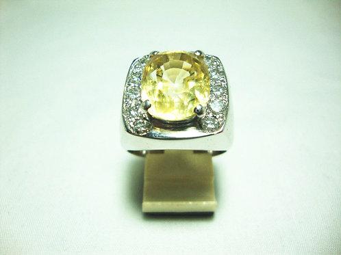 916 WHITE GOLD DIA STONE RING 10/100P ( YELLOW SAPPHIRE 13.2CARAT / CERT )