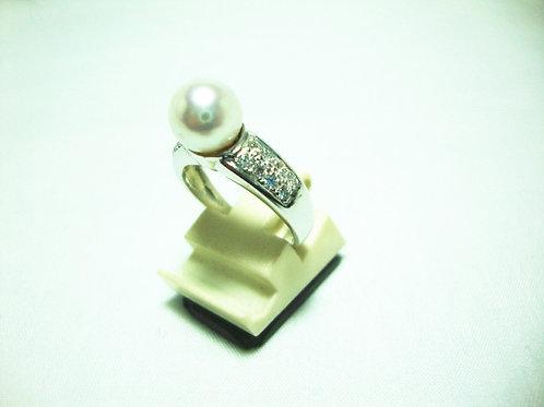 18K WHITE GOLD DIA PEARL RING 16/64P