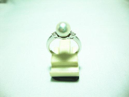 18K WHITE GOLD DIA PEARL RING 2/6P