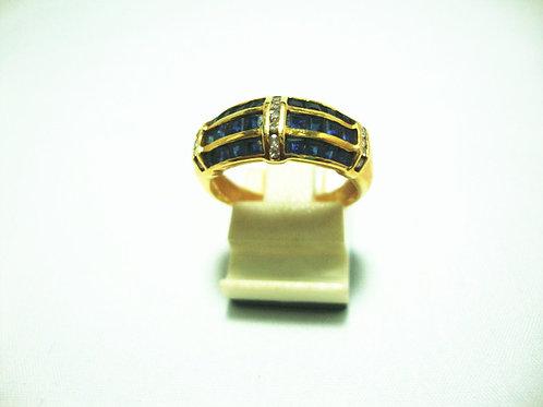 14K GOLD DIA SAPPHIRE RING 8P
