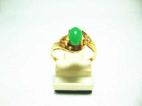 18K GOLD DIA JADE RING 1/1P