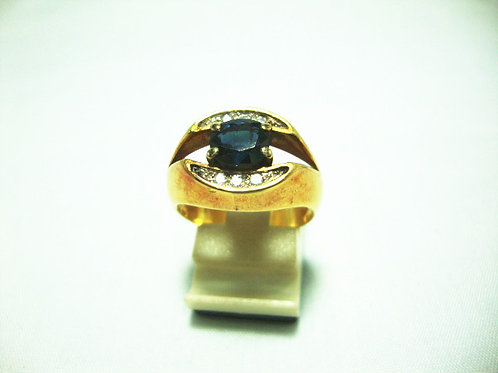14K GOLD DIA SAPPHIRE RING 10P
