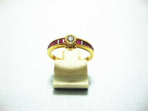 18K GOLD DIA RUBY RING 10P