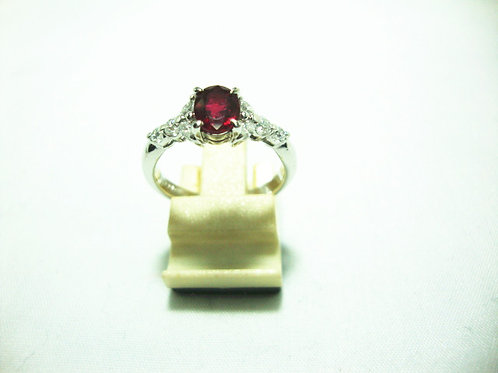 PLATINUM 900 WHITE GOLD DIA RUBY RING 4/12P 4/20P
