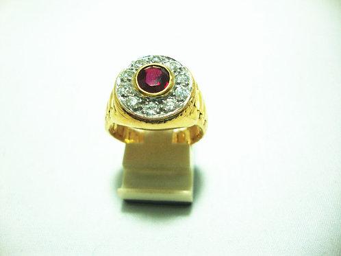 14K GOLD DIA RUBY RING 10/60P