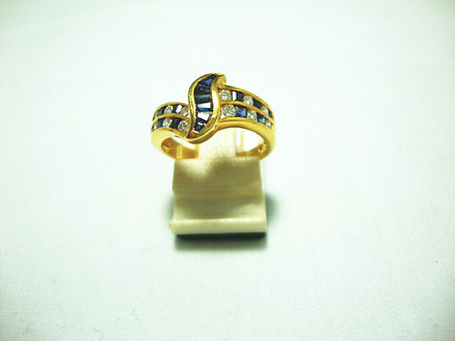 18K GOLD DIA SAPPHIRE RING 12/24P