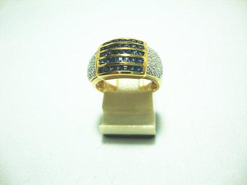 18K GOLD DIA SAPPHIRE RING 19P