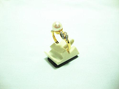 18K GOLD DIA PEARL RING 14/14P